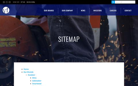 Screenshot of Site Map Page vfc.com - Sitemap :: VF Corporation (VFC) - captured Dec. 20, 2018