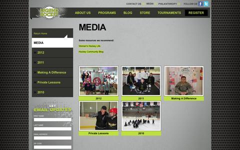 Screenshot of Press Page legendsi.com - Legend Hockey Videos and Photos |Legend Hockey Camps - captured Oct. 2, 2014