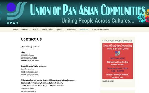 Screenshot of Contact Page upacsd.com - Contact Us   Union of Pan Asian Communities (UPAC) - captured Nov. 9, 2018