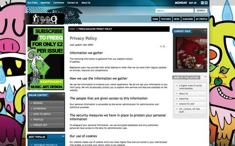 Screenshot of Privacy Page freeqmagazine.com - Privacy Policy - captured Sept. 30, 2014