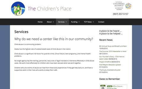 Screenshot of Services Page thechildrens-place.org - Services - The Children's Place - captured Dec. 13, 2016