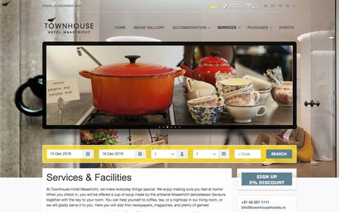 Screenshot of Services Page townhousehotels.nl - Services & Facilities at Townhouse Hotel Maastricht - captured Dec. 16, 2016