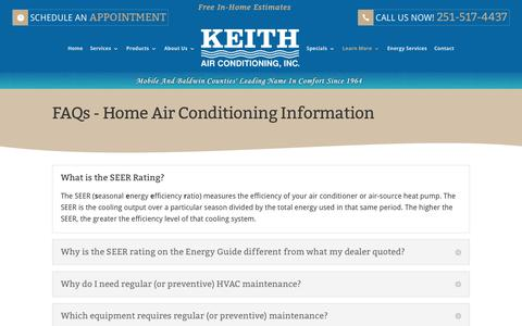 Screenshot of FAQ Page keithair.com - FAQs | Home Air Conditioning Information Mobile AL - captured Oct. 17, 2017