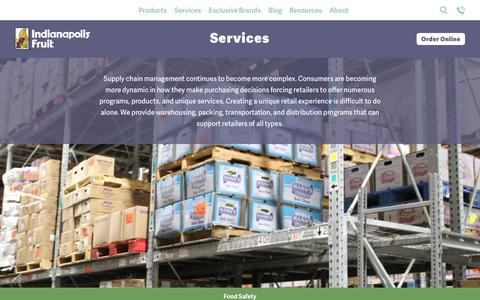 Screenshot of Services Page indyfruit.com - Services - Indianapolis Fruit - captured Oct. 11, 2018