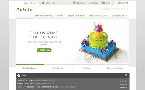 Screenshot of Home Page publix.com - Welcome to Publix | Publix Super Markets - captured Sept. 10, 2015