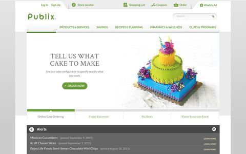 Screenshot of Home Page publix.com - Welcome to Publix | Publix Super Markets - captured Sept. 10, 2015