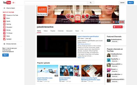 Screenshot of YouTube Page youtube.com - julootinteractive  - YouTube - captured Oct. 23, 2014
