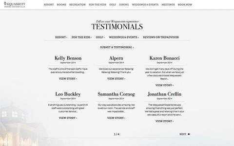 Screenshot of Testimonials Page wequassett.com - Wequassett Resort and Golf Club - captured Sept. 23, 2014