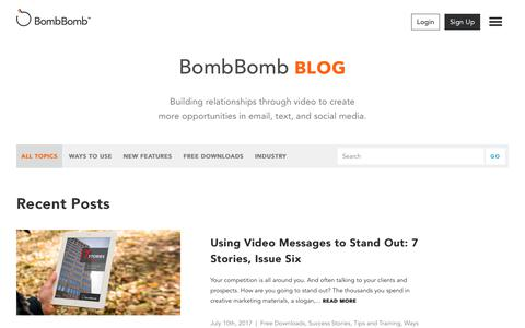 Screenshot of Blog bombbomb.com - Blog - Video Email using Gmail, Mobile, and Web | BombBomb.com - captured July 12, 2017