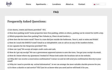 Screenshot of FAQ Page bnbtlv.com - FAQ  |  Work Rest Play. | Luxury Apartment Rentals In Tel Aviv, Israel. - captured Sept. 30, 2014