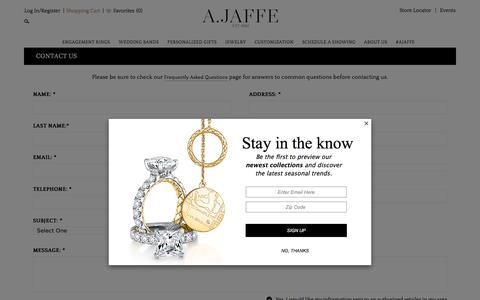 Screenshot of Contact Page ajaffe.com - Contact Us - A.JAFFE - captured July 25, 2018