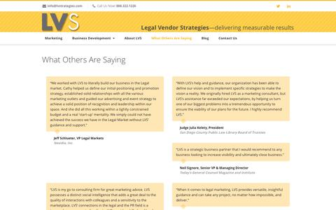 Screenshot of Testimonials Page lvstrategies.com - Legal Vendor Strategies What Others Are Saying - Legal Vendor Strategies - captured Nov. 5, 2016