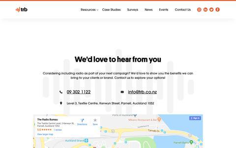 Screenshot of Contact Page trb.co.nz - Contact The Radio Bureau     The Radio Bureau - captured Oct. 18, 2018