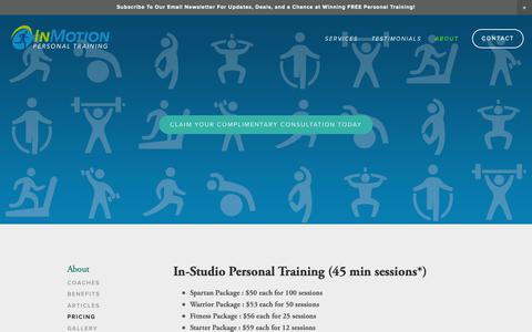 Screenshot of Pricing Page inmotionpersonaltraining.com - Pricing   InMotion Personal Training is Worcester's and MetroWest's leading in-studio an in-home personal training concierge service. - captured Nov. 6, 2018