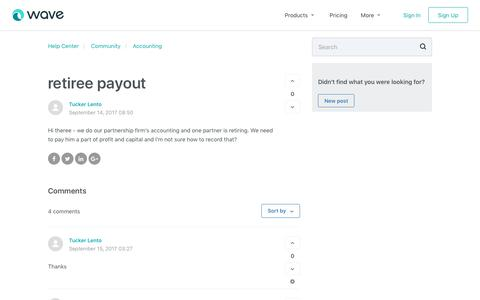 Screenshot of Support Page waveapps.com - retiree payout – Help Center - captured Dec. 5, 2017