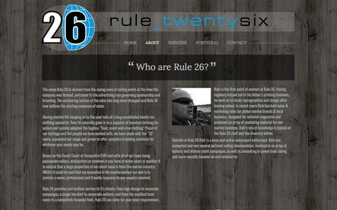 Screenshot of About Page rule26.co.uk - ABOUT - Rule 26 - Marine graphics & Clothing - captured Oct. 9, 2014