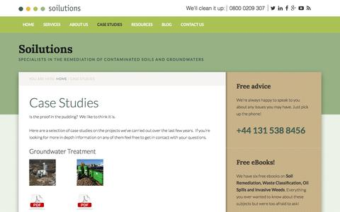 Screenshot of Case Studies Page soilutions.co.uk - Case Studies - captured Nov. 12, 2016