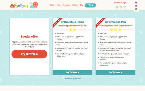 Screenshot of Pricing Page dromnibus.com - DrOmnibus - captured Sept. 30, 2014