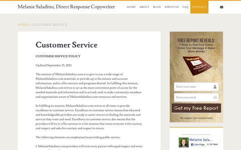 Screenshot of Support Page melaniesaladino.com - Customer Service - Melanie Saladino, Direct Response Copywriter - captured Feb. 10, 2016
