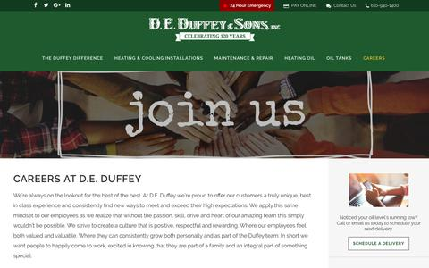 Screenshot of Jobs Page deduffey.com - Careers - D.E. Duffey & Sons - captured Aug. 5, 2018