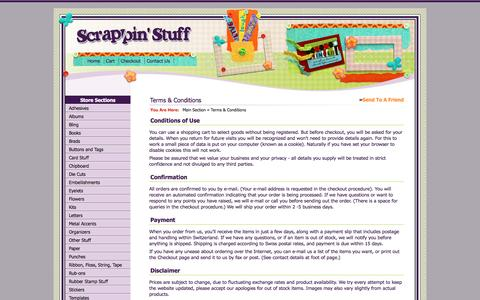 Screenshot of Terms Page scrappinstuff.ch - Terms & Conditions > Main Section > Scrappin Stuff Scrapbooking and Cards - captured April 10, 2017