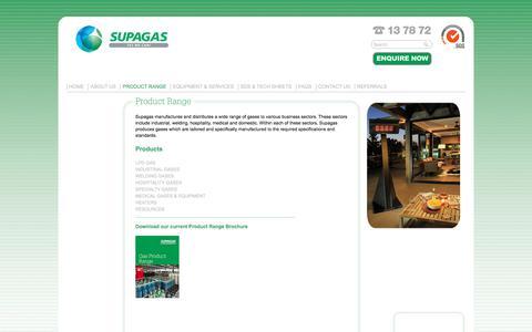 Screenshot of Products Page supagas.com.au - Supagas Australia » Product Range - captured Sept. 21, 2018