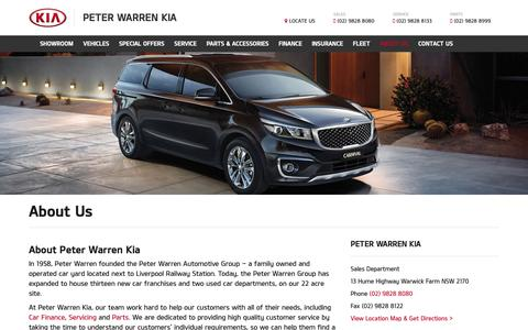 Screenshot of About Page dealersolutions.com.au - About Us | Peter Warren Kia | Kia Dealership Sydney - captured Oct. 25, 2018