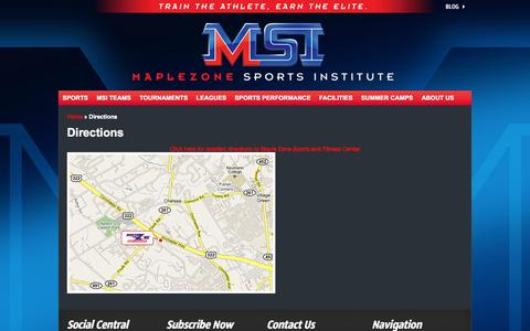 Screenshot of Maps & Directions Page maplezone.com - Directions - Maplezone Sports Institute - captured Oct. 3, 2014
