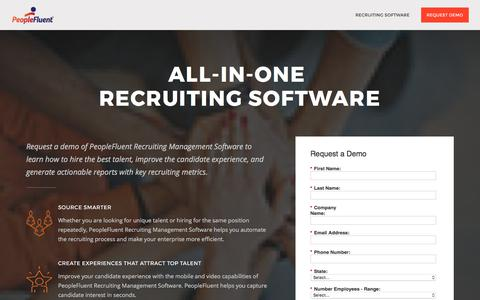 Screenshot of Landing Page peoplefluent.com - Recruiting Software | PeopleFluent - captured Aug. 11, 2017