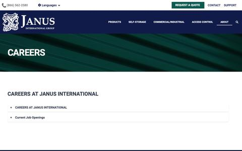 Screenshot of Jobs Page janusintl.com - Careers - captured Feb. 18, 2019