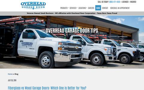 Screenshot of Blog overheadgaragedoorllc.com - Overhead Garage Door Blog | Tips & Guide for Garage Doors - captured Sept. 21, 2018