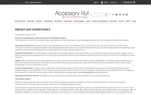 Screenshot of Privacy Page Terms Page accessoryhut.com - Privacy and Cookie Policy - captured Nov. 6, 2018
