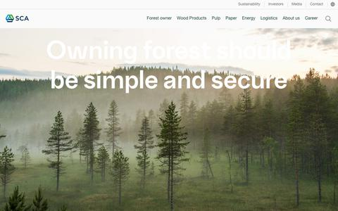 Screenshot of Services Page sca.com - Owning forest should be simple and secure - SCA - captured June 6, 2018