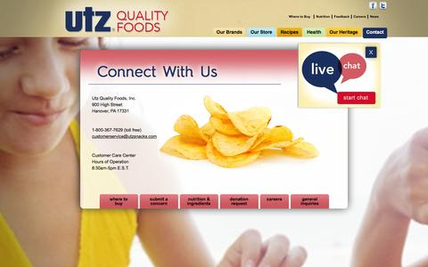 Screenshot of Contact Page utzsnacks.com - Contact - captured Feb. 17, 2016
