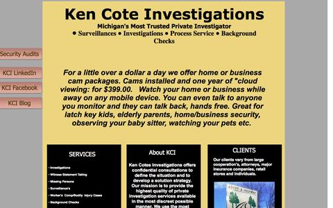 Screenshot of Home Page kencote.com - Ken Cote Investigations - captured Oct. 6, 2014