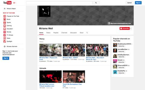Screenshot of YouTube Page youtube.com - Miriams Well  - YouTube - captured Oct. 26, 2014