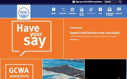 Screenshot of Blog gcwa.qld.gov.au - Community | Gold Coast Waterways Authority - captured Oct. 2, 2014