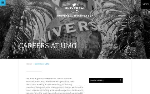 Screenshot of Jobs Page universalmusic.com - Careers at UMG - UMG - captured Oct. 15, 2017