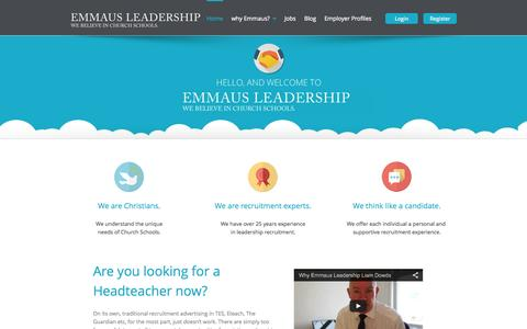 Screenshot of Home Page Blog Privacy Page Jobs Page Login Page Terms Page emmausleadership.me - Welcome - captured Oct. 6, 2014
