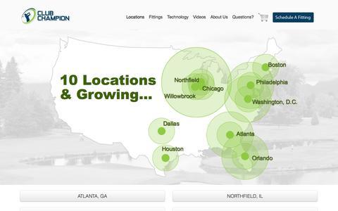 Screenshot of Locations Page clubchampiongolf.com - Locations - Club Champion Golf - captured Oct. 2, 2014