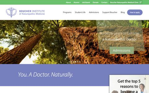 Screenshot of Home Page binm.org - Boucher Institute, School of Naturopathic Medicine (ND) | Vancouver, Canada - captured Nov. 3, 2018