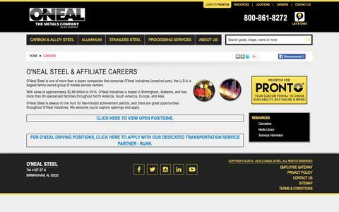 Screenshot of Jobs Page onealsteel.com - O'Neal Steel & Affiliate Careers | O'Neal Steel - captured April 22, 2018