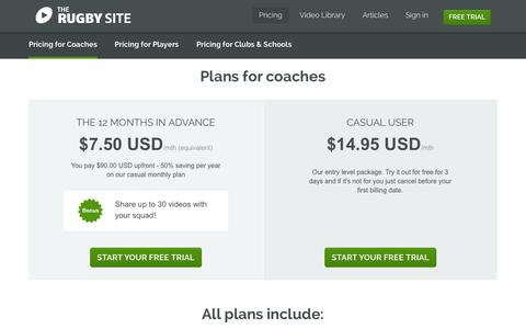 Screenshot of Trial Page Pricing Page therugbysite.com - Get access to rugby coaching videos by the world's best coaches and players | The Rugby Site - captured Oct. 25, 2014