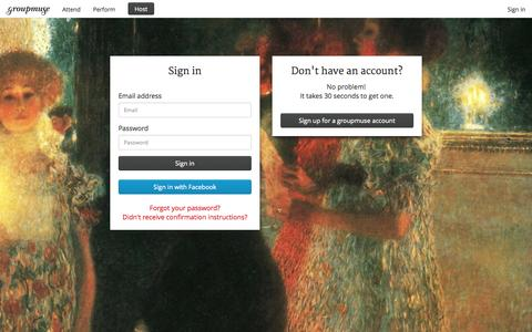 Screenshot of Login Page groupmuse.com - Groupmuse - Chamber music house concerts with your friends! - captured Oct. 29, 2014