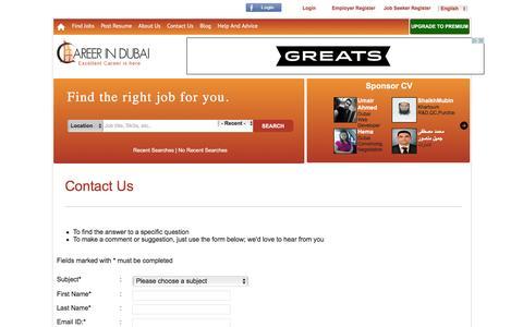 Screenshot of Contact Page careerindubai.net - contact us - Career In Dubai - captured Dec. 7, 2015