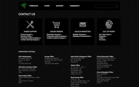 Screenshot of Contact Page razerzone.com - Contact Us - captured July 3, 2016