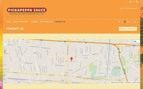 Screenshot of Contact Page pickapeppa.com - CONTACT US   Pickapeppa - captured Sept. 29, 2014