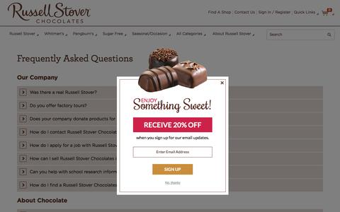 Screenshot of FAQ Page russellstover.com - Frequently Asked Questions | Russell Stover Chocolates - captured Dec. 17, 2016