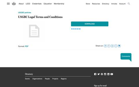 Screenshot of Terms Page usgbc.org - USGBC Legal Terms and Conditions   U.S. Green Building Council - captured Jan. 24, 2020