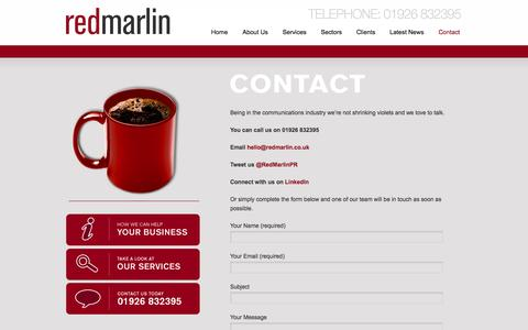 Screenshot of Contact Page redmarlin.co.uk - Contact | Red Marlin - powerful PR for automotive businesses - captured Oct. 9, 2014